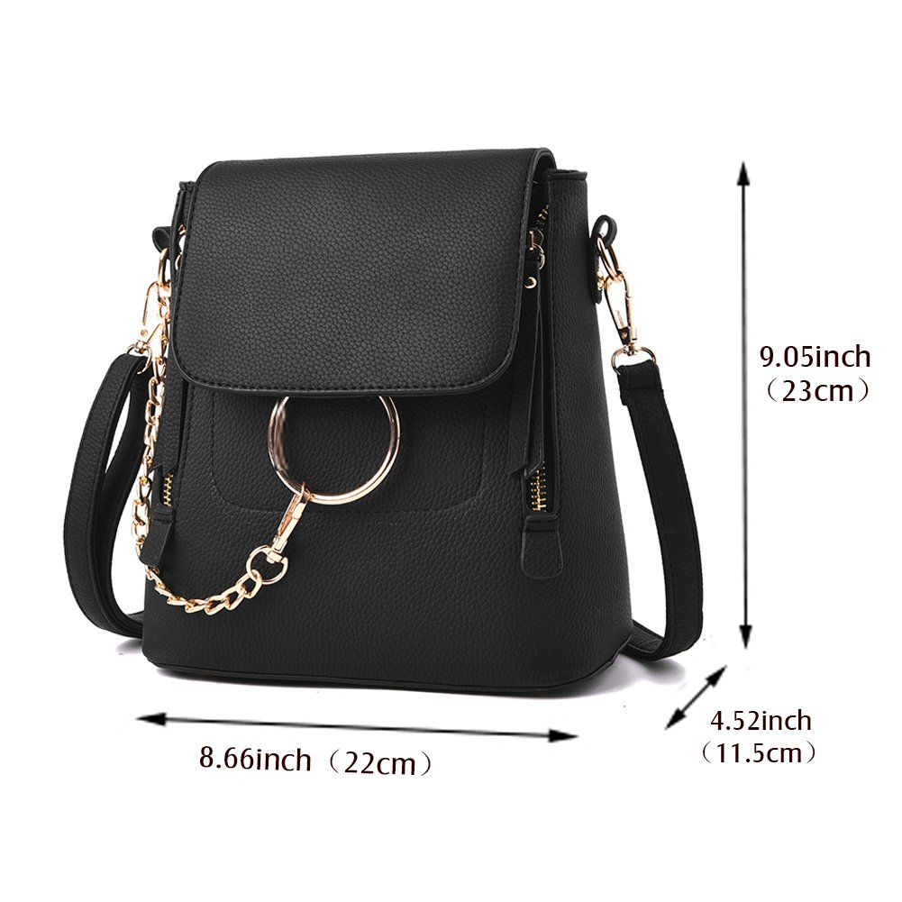 SCENTW Fashion Women Crossbody Backpack Purse Small Pu Leather Shoulder Bag Ladies Cute Chain Satchel Bag (Balck) by SCENTW (Image #3)