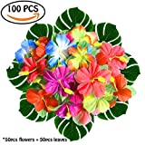100Pcs/Lot Marval.P Home Party Luau Decor, 50pcs Hibiscus Flowers + 50pcs Simulation Palm Leaves, Tropical Hawaii leaf Floral Decoration, Beach BBQ Birthday party Theme for Children & Adult