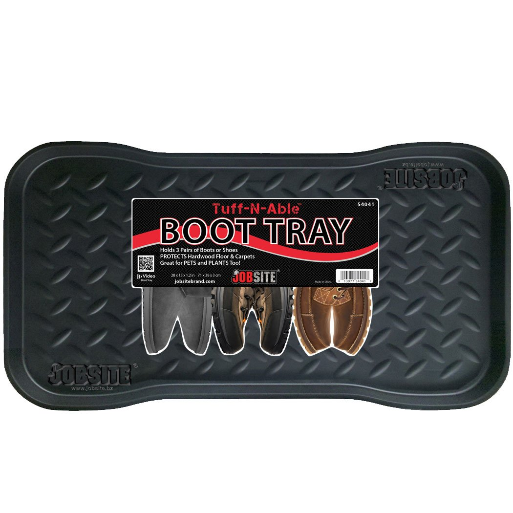 JobSite Heavy Duty Boot Tray, Multi-Purpose for Shoes, Pets, Garden - Mudroom, Entryway, Garage - Indoor or Outdoor - 15 x 28 Inch - 1 Tray