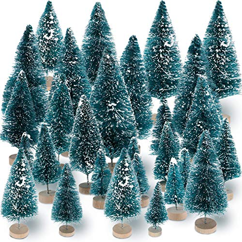 Sumind 45 Pieces Mini Sisal Snow Frost Trees Mini Pine with Wood Base Bottle Brush Trees Plastic Winter Snow Ornaments Tabletop Trees for Christmas Decoration and Display (Village Ornaments Christmas)