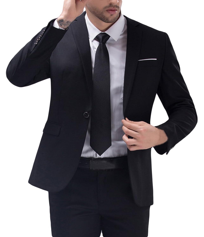 La vogue Herren Sakko Blazer Hose Business Anzug Schwarz Bust112cm
