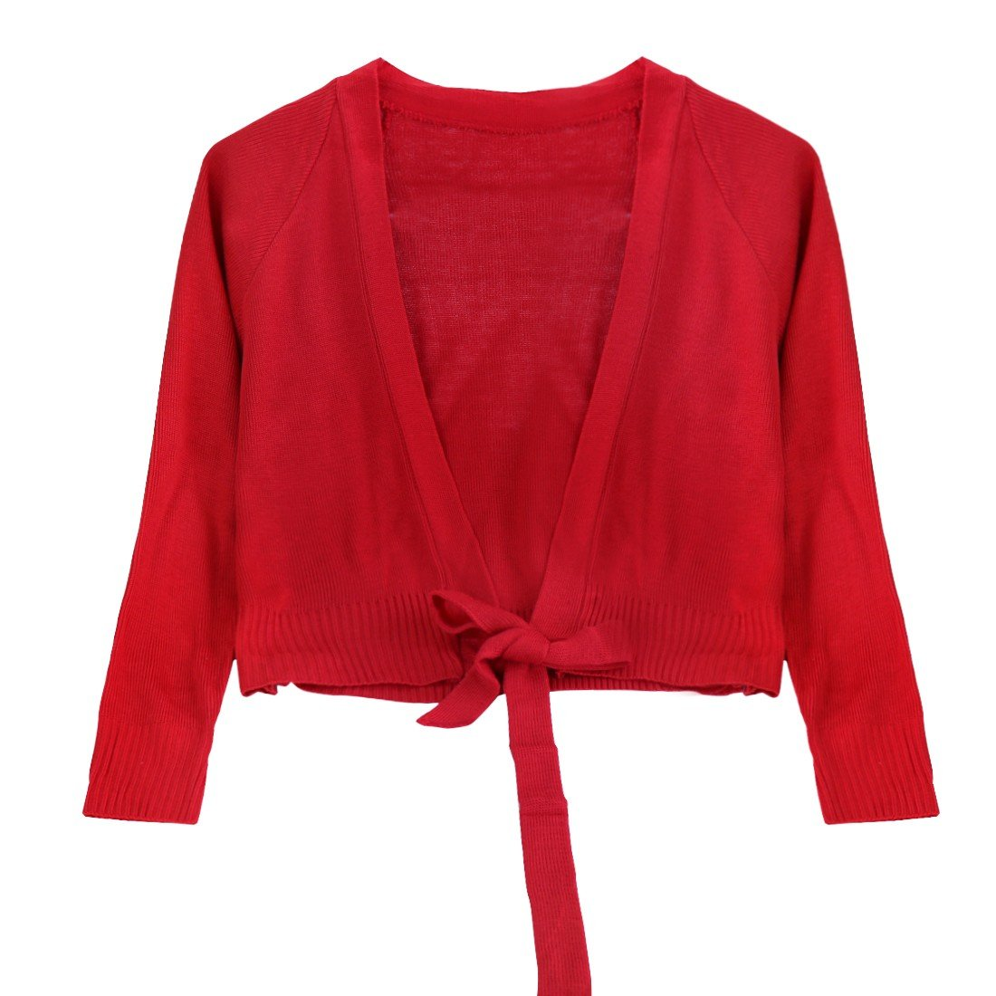 iEFiEL Kids Girls Long Sleeves Front Tie Knot Shrug Stretchy Cardigan Top Red 7-8