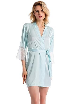 deb56b2366 Vislivin Women s Satin Kimono Style Robe Lingerie Sleepwear  Amazon ...