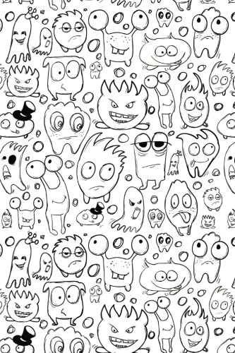 Sketchbook: Little Monsters (Black and White) 6x9 - BLANK JOURNAL NO LINES - unlined, unruled pages (Monsters and Aliens Sketchbook Series)