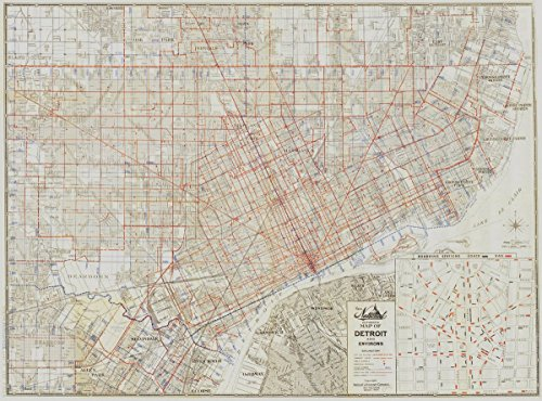 Historic Map | Detroit, Michigan 1949 | New National Authentic map of Detroit and Environs | Antique Vintage Reproduction 44in x 33in
