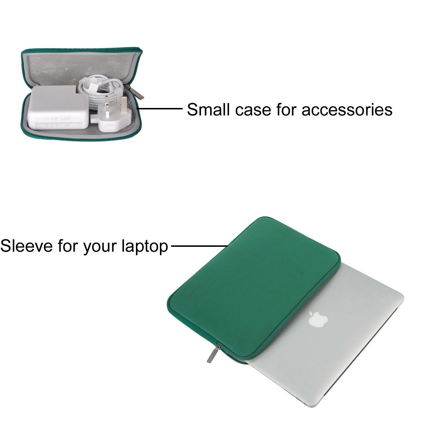 MOSISO Laptop Sleeve Bag Compatible 15 Inch MacBook Pro Touch Bar A1990 A1707 Greenery Water Repellent Neoprene Tablet Cover with Small Case 14 Inch ThinkPad Chromebook