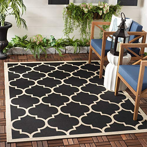 Safavieh Courtyard Collection CY6914-266 Black and Beige Indoor/ Outdoor Area Rug (4' x 5'7