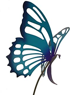 product image for Modern Artisans American Made Large Metal Butterfly Garden Sculpture/Stake - Purple/Blue