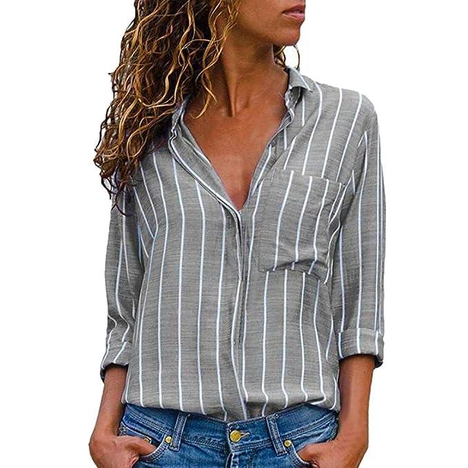 KEERADS Chemisier Femme Blouse Rayures Impression Col V Casual Mode Simple Tunique  Haut Top Bouton Poche 6c9a6953545e
