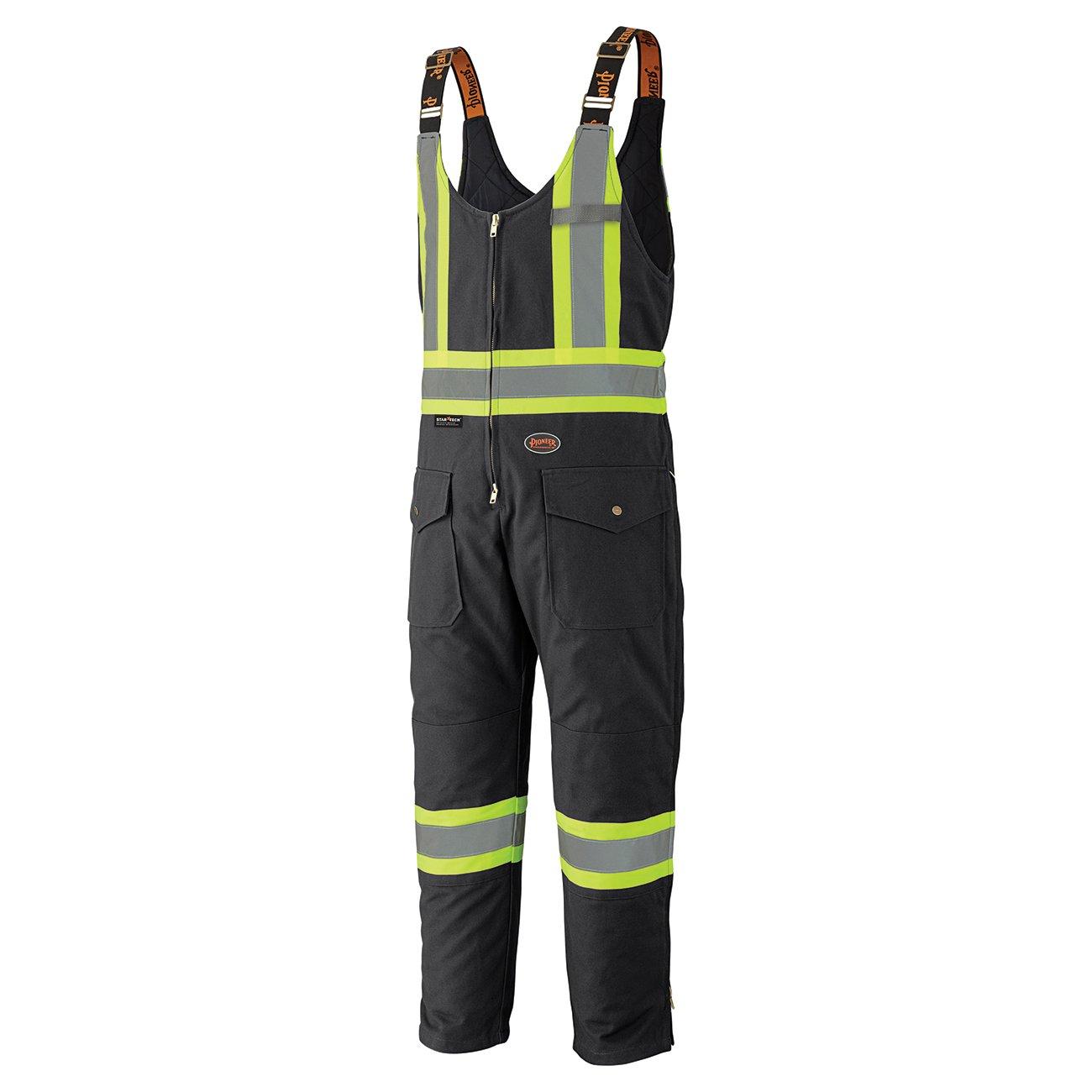 Pioneer V2060570-XL Insulated Heavy-Duty Work Overall, 4 Pockets, Men Hi-Vis Bib Pants, Black, XL