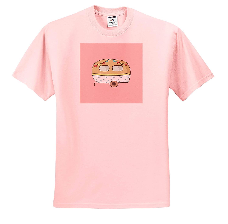 3dRose Made in The Highlands T-Shirts Camper Van on Pink Background Art- Pink Caravan