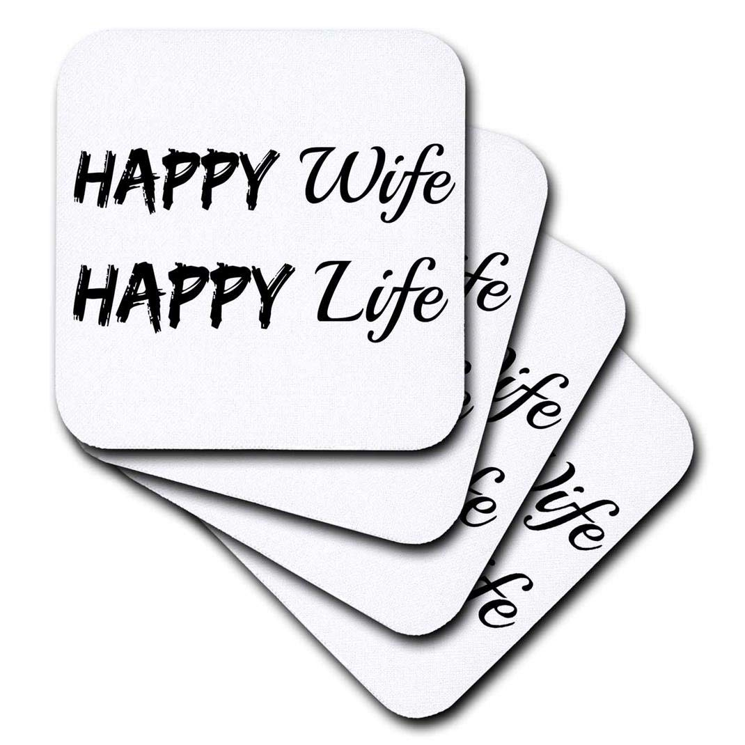(set-of-4-Ceramic) - 3dRose cst_200670_3 Happy Wife Happy Life Black Letters on White Background Ceramic Tile Coasters, Set of 4 set-of-4-Ceramic  B00OMC7RJE
