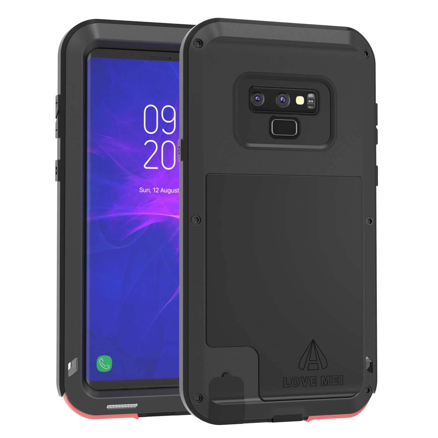 Love Mei Samsung Note 9 Case, [Powerful Series] Shockproof Scratch Proof Dustproof Hybrid Metal and Silicone Rubber Gel Heavy Duty High Impact Rugged Case for Samsung Galaxy Note 9 (Black)