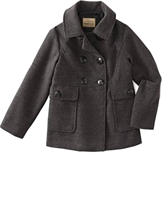 55a150c82 Amazon.com: Roebuck & Co Little Girls Gray Single Breast Pea-Coat Button Up  Pockets Winter Dress Jacket: Clothing