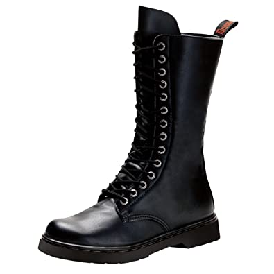 df49ef34a69 Summitfashions Mens Lace Up Black Boots Mid Calf Vegan Leather Shoes Combat  Zipper 1 Inch Heel