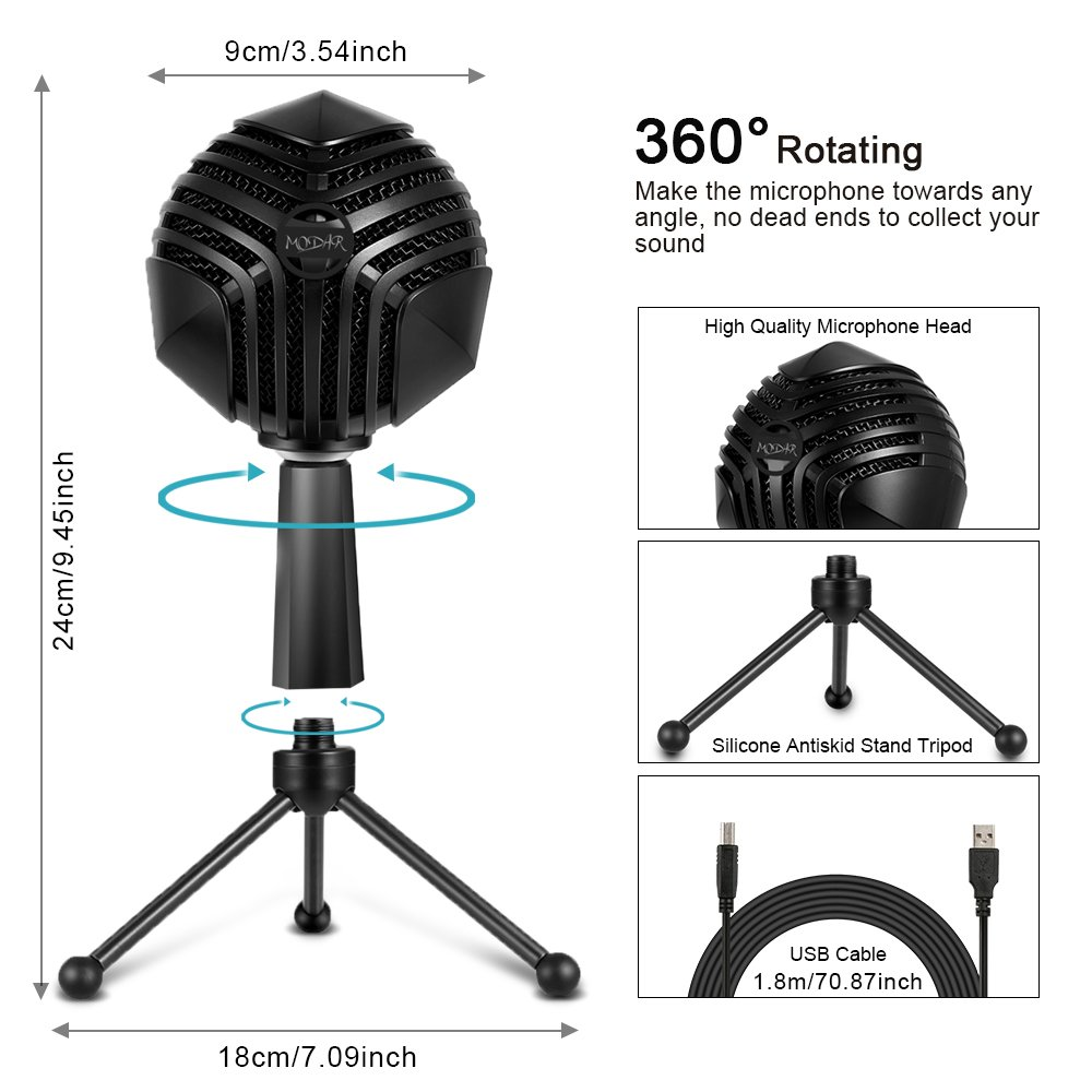 MODAR USB Cardioid Microphone Stand, Studio Broadcasting Recording Condenser Mic Desktop Professional with LED Power Indicatior, Volume Adjuster, Mute Button, USB Port and Headphone Jack by MODAR (Image #4)