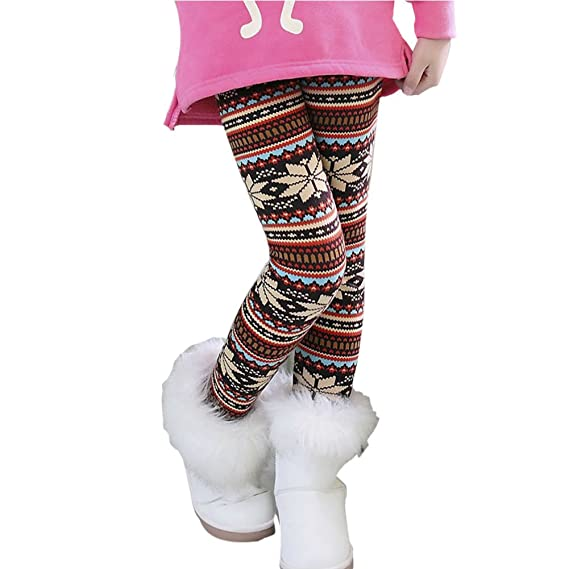 Toddler Kid Girl Fleece Lined Legging Pants Stretch Trouser Winter Warmer