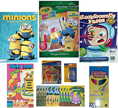 Crayola Color Wonder Markers/Minions/I Grown Up Sticker Activity Set w/Crayons/Colored Pencils 8-Piece Bundle