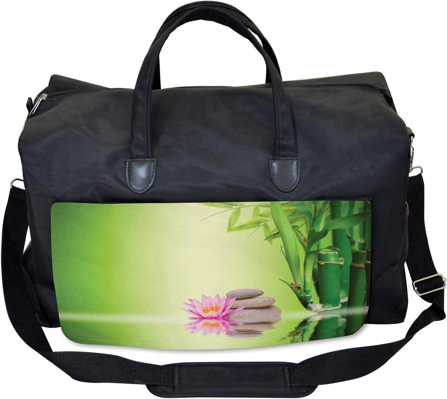 Ambesonne Asian Gym Bag Zen Garden Peaceful Mind Large Weekender Carry-on