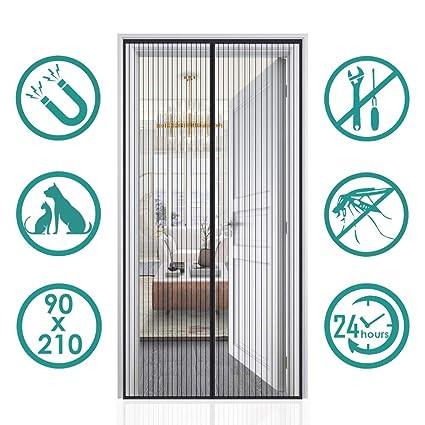 Fermeture Automatique Pour Couloirs Portes Patio Rideau Anti Moustique Bogues Rideau de Porte Anti-moustique Magn/étique Moustiquaire Porte Installation Facile Sans Outils