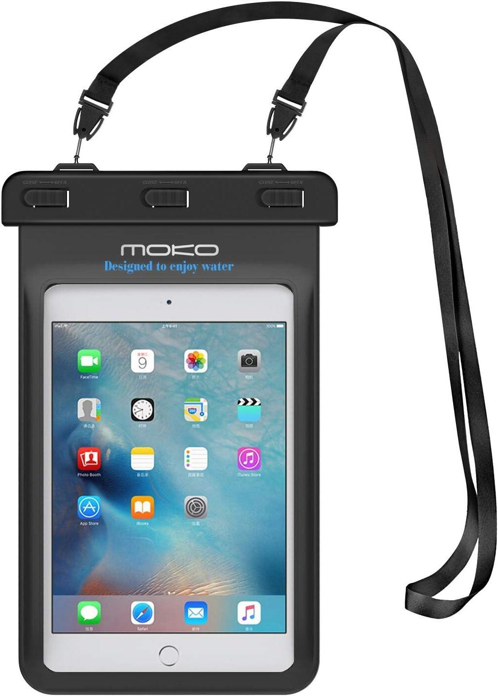 "MoKo Universal Waterproof Case, Dry Bag Pouch for iPad Mini 2019/4/3/2, Samsung Tab 5/4/3, Galaxy Note 8, Tab S2/Tab E/Tab A 8.0, LG G Pad III 8.0, Google Nexus 7(FHD) & More Up to 8.3"" - BLACK"
