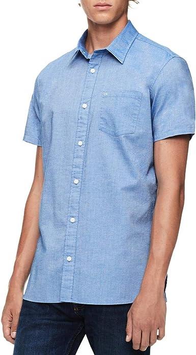 Calvin Klein CK One - Camisa de Manga Corta con Botones para Hombre