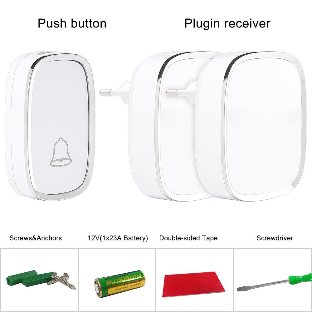 Sonnette sans Fil WiFi Étanche, Ring Video Doorbell avec Pile Télécommande, Récepteurs Enfichables Dingdong PIR Infrarouge, 720P HD, Audio Bidirectionnel, Consommation Faible, Carte 8G Intégré Carte 8G Intégré