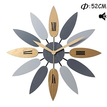 Searchyou - Reloj Pared, 52CM Reloj de Pared Modernos Grande Madera Silencioso Decorativo para Cocina, Oficina, Habitacion, Comedor, Salon, Dormitorio, ...