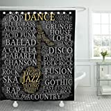 TOMPOP Shower Curtain Age Dance Word Cloud Musical Notes Gray Variety Waterproof Polyester Fabric 72 x 72 Inches Set with Hooks