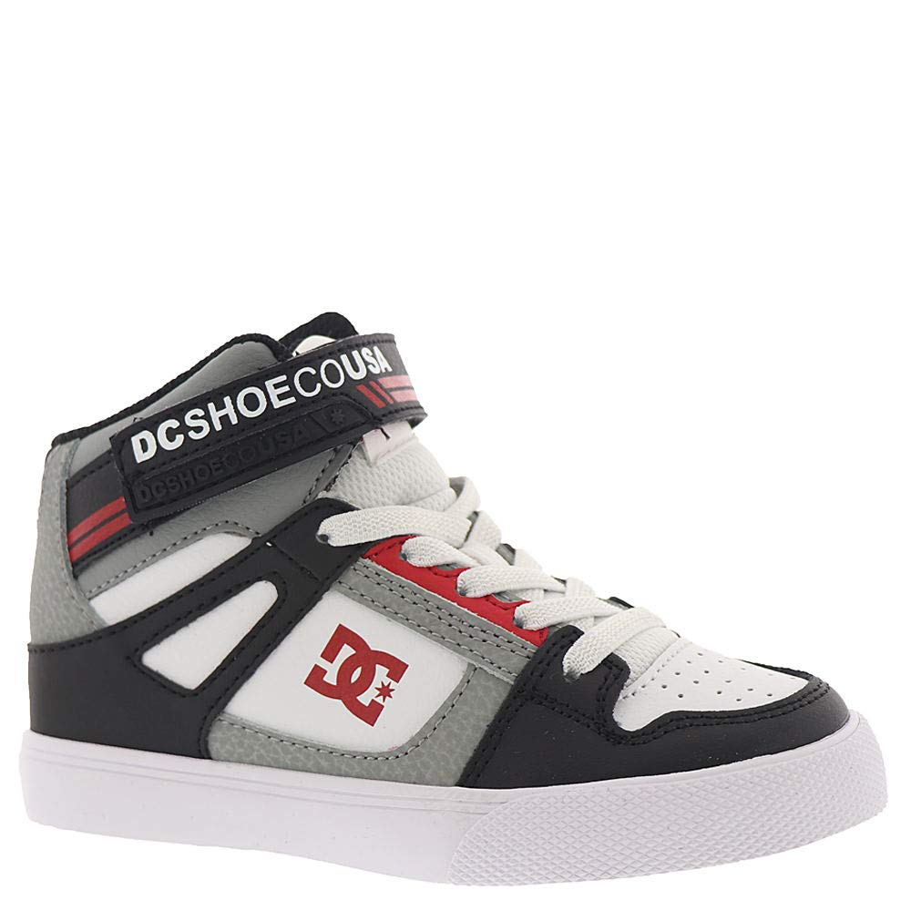 DC Boys' Pure HIGH-TOP EV Sneaker Black/Grey/RED 1.5 M M US Little Kid