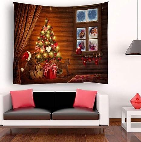 YINGBAOBAO Tapiz 3D Árbol De Navidad Y Papá Noel Impresión Digital Decoración para El Hogar Sábanas