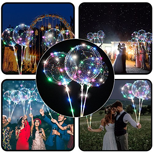 4 PCS LED Light Up Balloons Multicolored for Kids 18 Inch Transparent Bobo Balloon with Flashing Lights Colorful Glowing Party Wedding Decoration Balloons