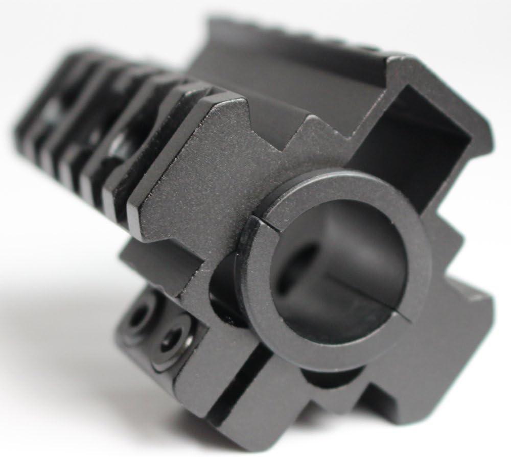 Caza 3 carriles Laterales de 3 v/ías de 20 mm de Barril Montaje de Barril Ver a trav/és de 21 mm Picatinny Weaver Montaje de Carril para Riflescope Arma