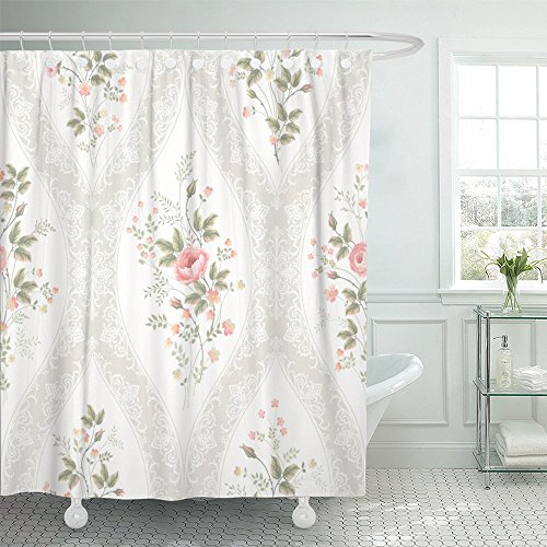 """Emvency Shower Curtain 72""""x72"""" Home Decor Blue Flower Floral Pattern with Lace and Rose Bouquet Colorful Spring Border Stripes Waterproof Polyester Fabric Adjustable Hook"""