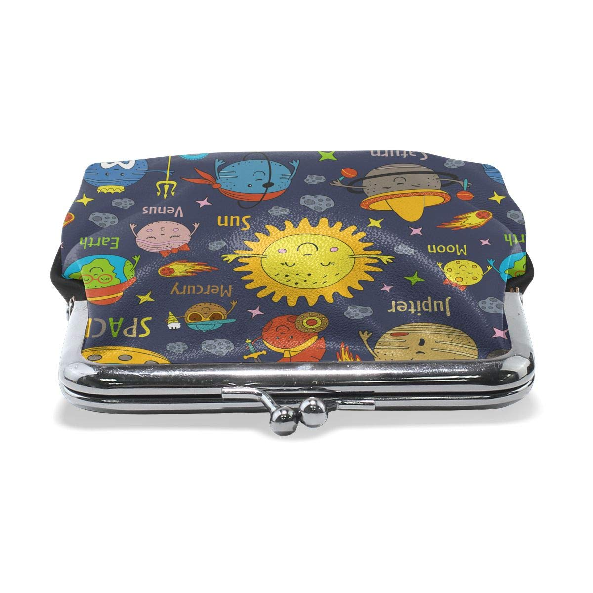 Funny Solar System Planets Women Girl Canvas Floral Coin Purse Clutch Pouch Wallet