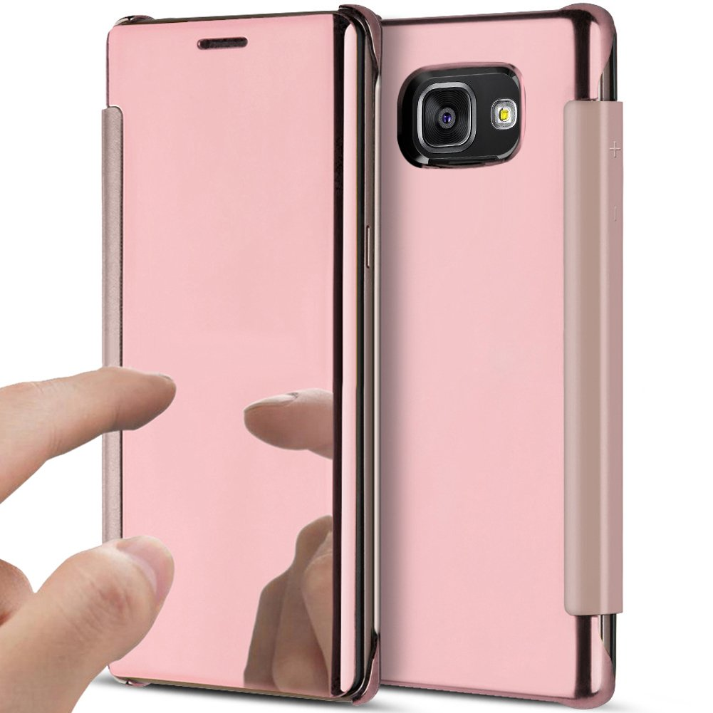 Galaxy A3 2016 Case,Galaxy A3 2016 Cover,ikasus Ultra-Slim Luxury Shock-Absorption Clear View Flip Electroplate Plating Mirror Cover Flip Protective Case Cover for Galaxy A3 (2016) A310,Rose Gold