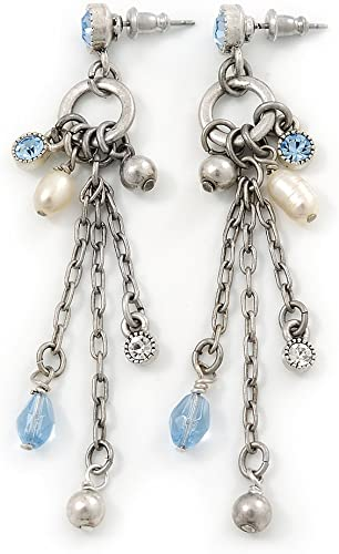 freshwater pearl drop earrings with chain with silver fastening