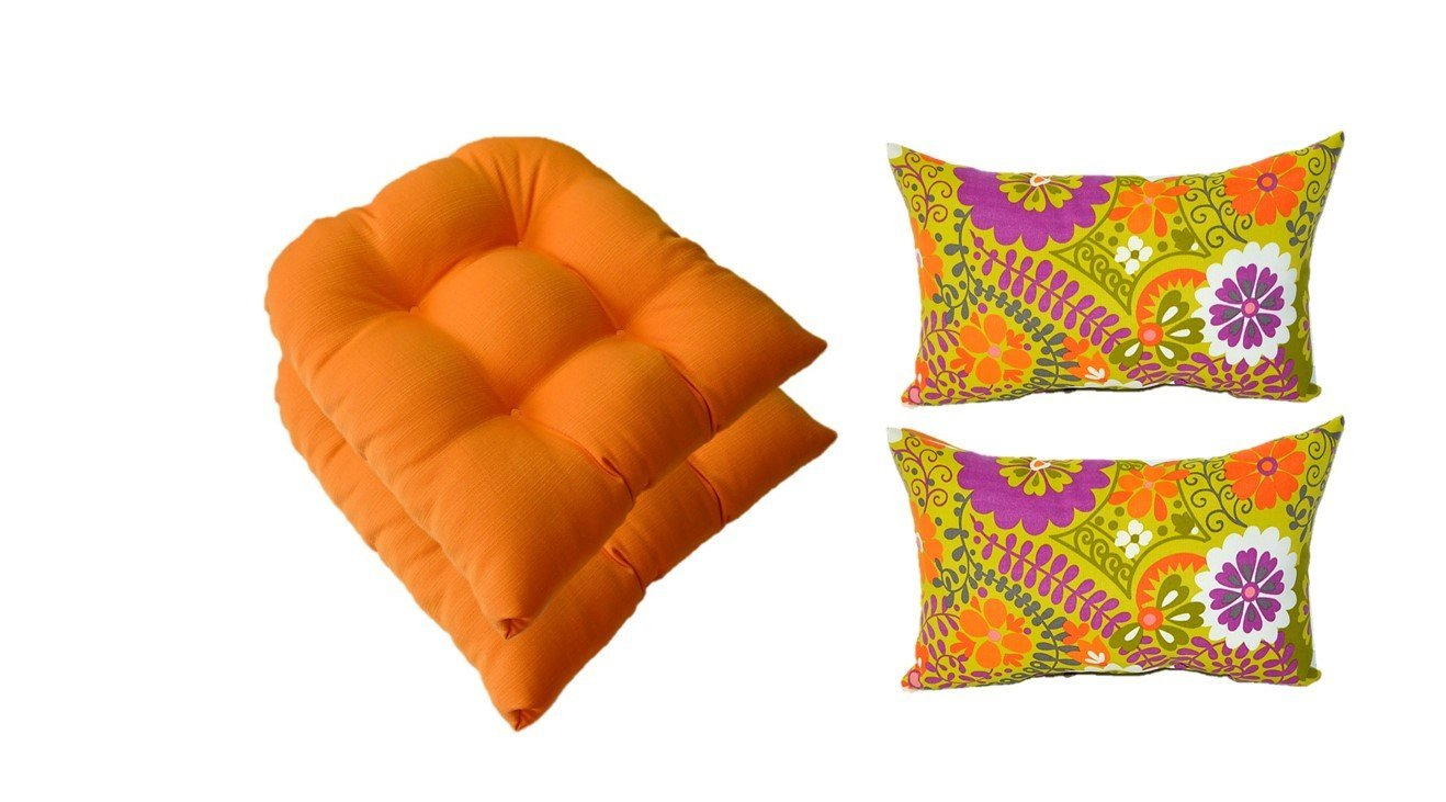 Set of 2 -Universal Tufted U-shape Wicker Chair Cushions +2 Free Lumbar Pillows -Woven Twill Mojo Creamsicle Orange Cushions &Citron Green, Orange, Violet Purple, White Retro Floral - Indoor / Outdoor