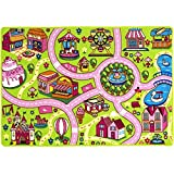 Mybecca Kids Rug Fun Land Play Rug 8 x 11 Non Slip Gel Backing Size approximate: 7' feet 2'' inch by 10' ft (7'2'' X 10')