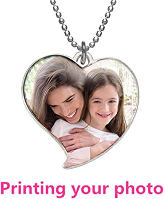 Silver Heart A2MYL Personalized Necklace Custom Photo Color and Engraved Dog Tag Necklace Pendant Best for Valentines Day Gift