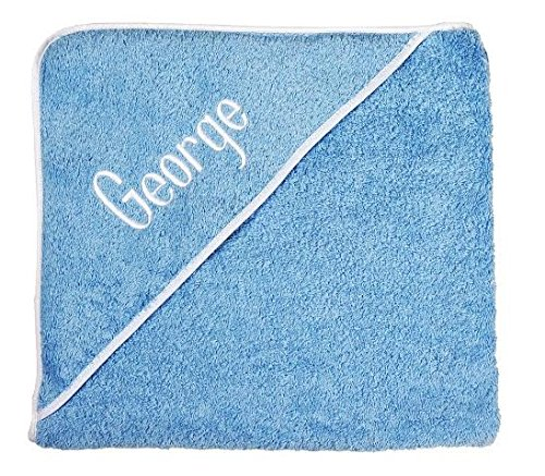 Personalized Baby Gifts Baby Bath Towels Blue Hooded Towels with Your Baby Boy Name by Decorative Things