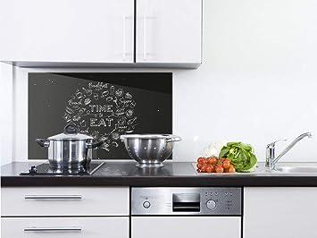 GRAZDesign Spritzschutz Küche Glas Küchenspruch - Wandpaneele Küche  Küchenmotiv - Fliesenspiegel Küche Schwarz - Küchenrückwand Glas Time to  Eat / ...