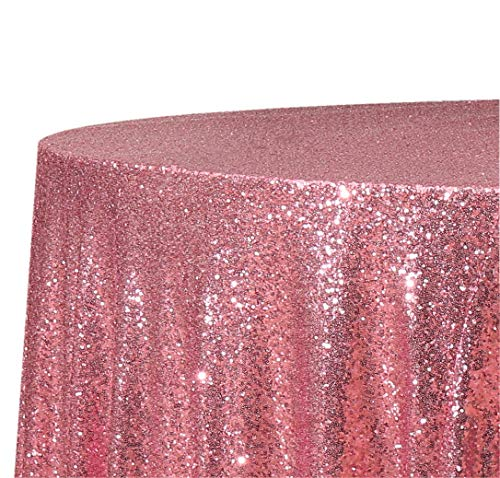 Poise3EHome 50-Inch Round Sequin Tablecloth for Party Cake Dessert Table Exhibition Events, Fuchsia Pink -