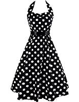Vestido atractivo del punto de polca del cuello del halter de las mujeres de iPretty Vestidos del oscilación del coctel de Rockabilly del vestido de la vendimia de los años 50