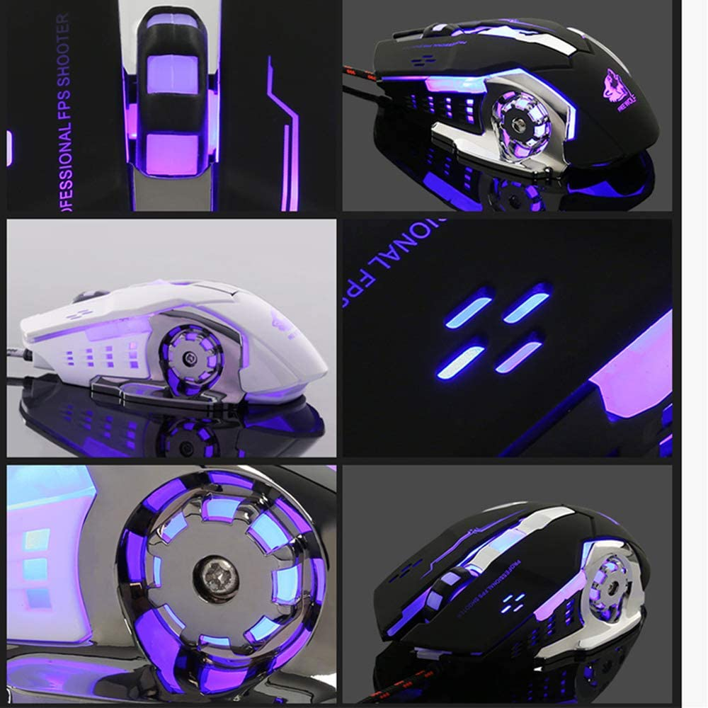 High Precision Metal Base Used for Games and Office,Black CHAOZHAOHENG Laser Gaming Mouse Wired with 6 Programable Buttons 4 Color Cycle Breathing