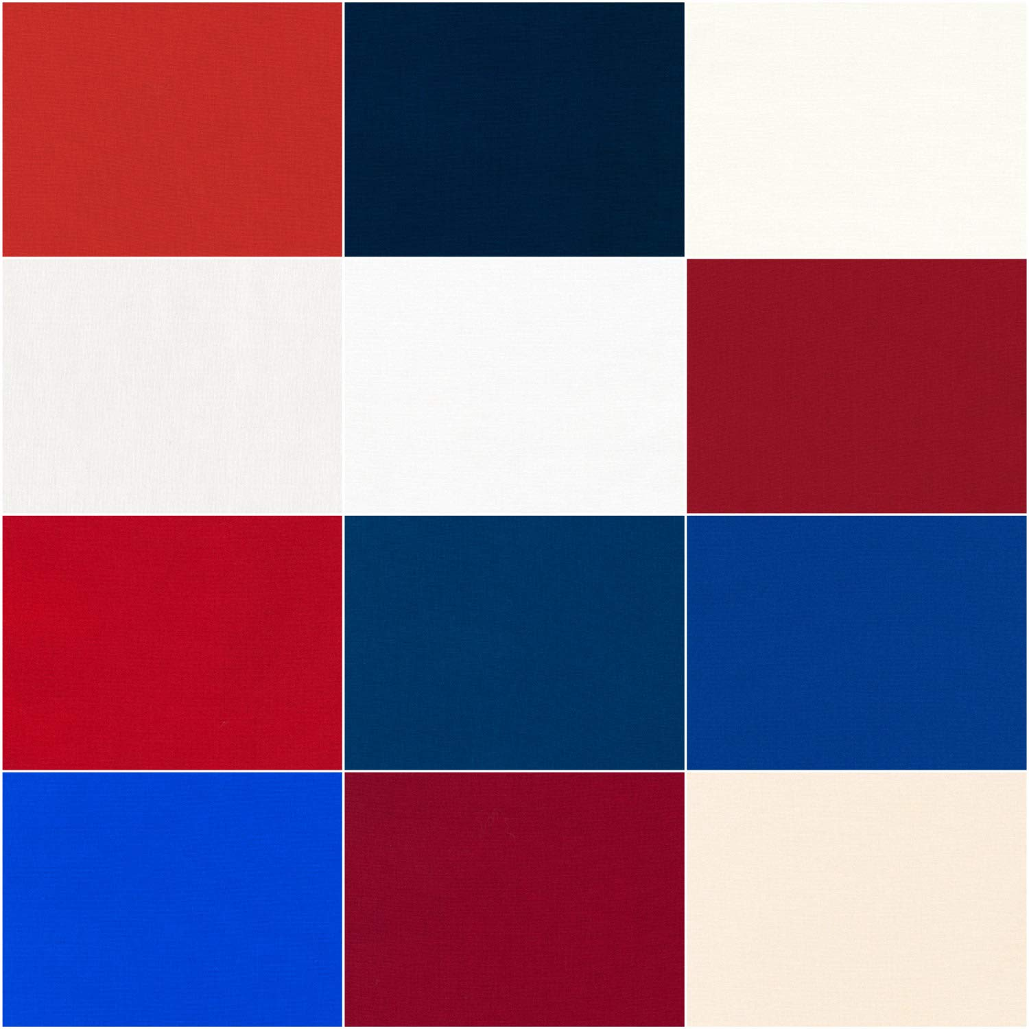 Robert Kaufman Kona Cotton Solids Patriotic Half Roll 2.5 Precut Cotton Fabric Quilting Strips Assortment HR-151-24