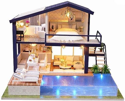 Kit para Armar uno mismo Casa de Muñecas en Miniatura girar Música Casa Muñeca Juguetes Cottage con luces LED