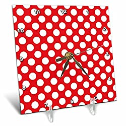 3dRose dc_78196_1 Large White Polka Dots on a Red Background Desk Clock, 6 by 6-Inch