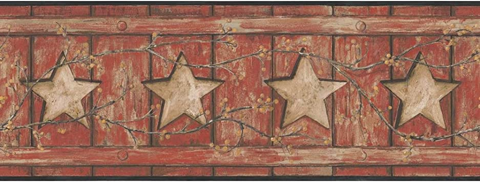 York Wallcoverings Keepsakes Country Cutout Star Removable Wallpaper Red Black Gold Tan