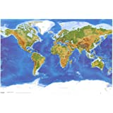 Laminated Satellite Physical Map of The World Poster 36 x 24in